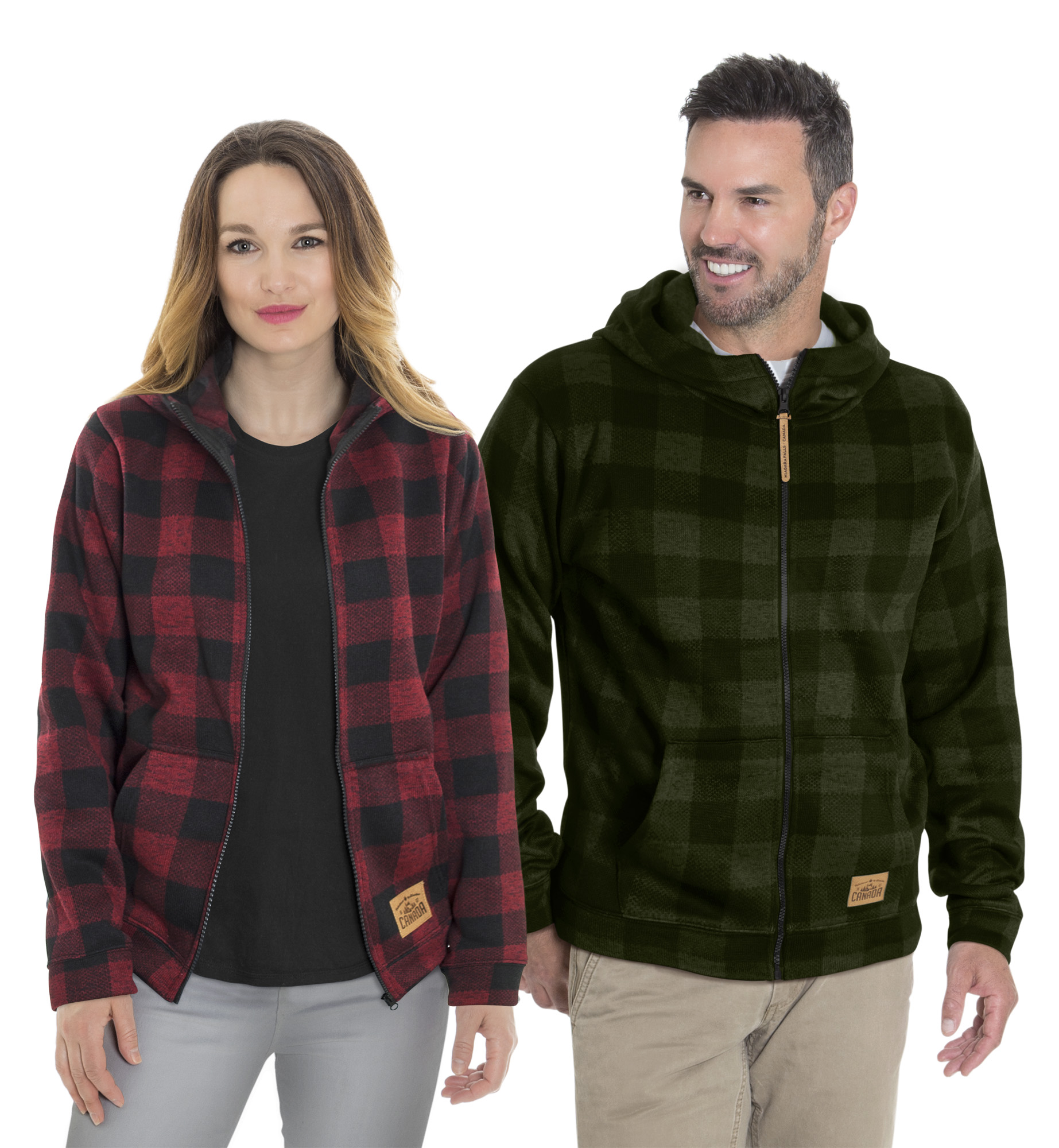 125 - Unisex plaid hooded full zip jacket